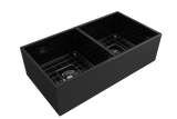 "BOCCHI Contempo 36"" Fireclay Farmhouse Apron 50/50 Double Bowl Kitchen Sink, Black, 1350-005-0120 with Grid Straight View 