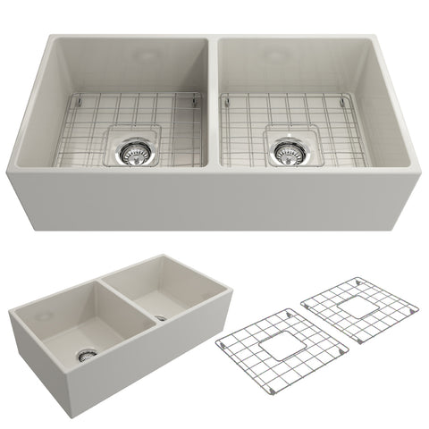 "BOCCHI Contempo 36"" Fireclay Farmhouse Apron 50/50 Double Bowl Kitchen Sink, Biscuit, 1350-014-0120 Showcase Image 
