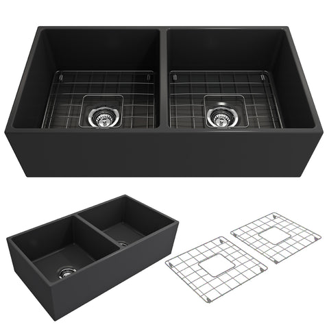 "BOCCHI Contempo 36"" Fireclay Farmhouse Apron 50/50 Double Bowl Kitchen Sink, Matte Dark Gray, 1350-020-0120 Showcase Image 