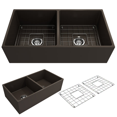"BOCCHI Contempo 36"" Fireclay Farmhouse Apron 50/50 Double Bowl Kitchen Sink, Matte Brown, 1350-025-0120 Showcase Image 