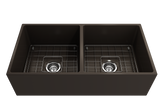 "BOCCHI Contempo 36"" Fireclay Farmhouse Apron 50/50 Double Bowl Kitchen Sink, Matte Brown, 1350-025-0120 with Grid Angled View 