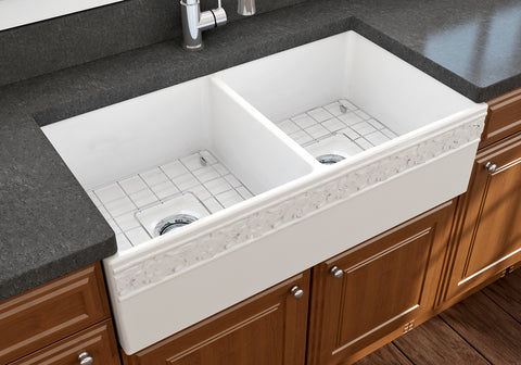 "BOCCHI Vigneto 36"" Fireclay Farmhouse Apron 50/50 Double Bowl Kitchen Sink, White, 1351-001-0120 Lifestyle Image 
