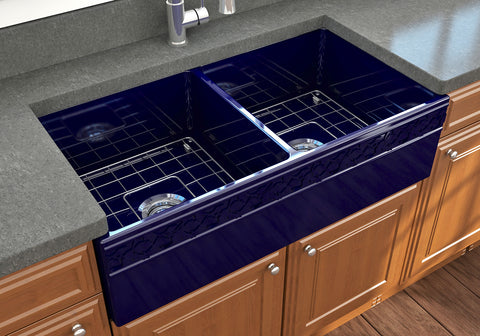 "BOCCHI Vigneto 36"" Fireclay Farmhouse Apron 50/50 Double Bowl Kitchen Sink, Sapphire Blue, 1351-010-0120 Lifestyle Image 
