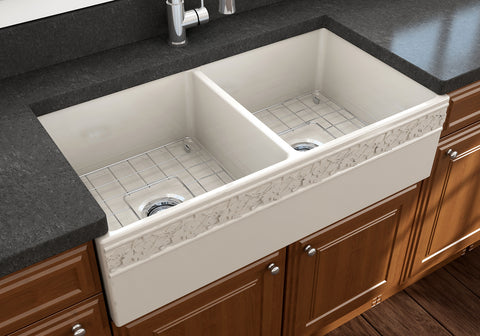 "BOCCHI Vigneto 36"" Fireclay Farmhouse Apron 50/50 Double Bowl Kitchen Sink, Biscuit, 1351-014-0120 Lifestyle Image 