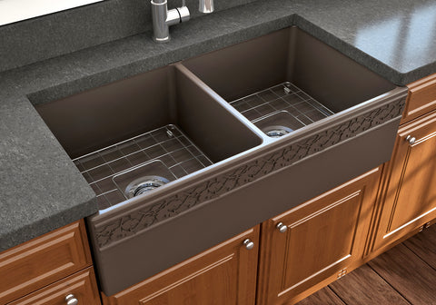 "BOCCHI Vigneto 36"" Fireclay Farmhouse Apron 50/50 Double Bowl Kitchen Sink, Matte Brown, 1351-025-0120"