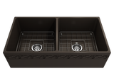 "BOCCHI Vigneto 36"" Fireclay Farmhouse Apron 50/50 Double Bowl Kitchen Sink, Matte Brown, 1351-025-0120 with Grid Angled View 