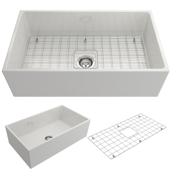 "BOCCHI Contempo 33"" Fireclay Farmhouse Apron Single Bowl Kitchen Sink, White, 1352-001-0120 Showcase Image 