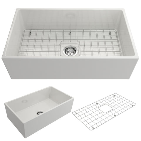 "BOCCHI Contempo 33"" Fireclay Farmhouse Apron Single Bowl Kitchen Sink, White, 1352-001-0120"
