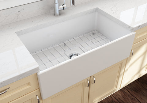 "BOCCHI Contempo 33"" Fireclay Farmhouse Apron Single Bowl Kitchen Sink, White, 1352-001-0120 Lifestyle Image 