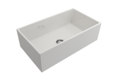 "BOCCHI Contempo 33"" Fireclay Farmhouse Apron Single Bowl Kitchen Sink, White, 1352-001-0120 