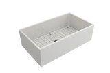 "BOCCHI Contempo 33"" Fireclay Farmhouse Apron Single Bowl Kitchen Sink, White, 1352-001-0120 with Grid Angled View 