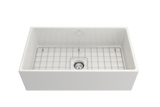 "BOCCHI Contempo 33"" Fireclay Farmhouse Apron Single Bowl Kitchen Sink, White, 1352-001-0120 with Grid Straight View 
