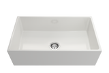 "BOCCHI Contempo 33"" Fireclay Farmhouse Apron Single Bowl Kitchen Sink, White, 1352-001-0120 Straight View 