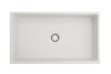 "BOCCHI Contempo 33"" Fireclay Farmhouse Apron Single Bowl Kitchen Sink, White, 1352-001-0120 Top View 