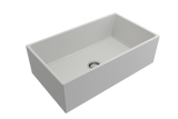 "BOCCHI Contempo 33"" Fireclay Farmhouse Apron Single Bowl Kitchen Sink, Matte White, 1352-002-0120 