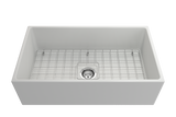 "BOCCHI Contempo 33"" Fireclay Farmhouse Apron Single Bowl Kitchen Sink, Matte White, 1352-002-0120 with Grid Straight View 