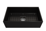 "BOCCHI Contempo 33"" Fireclay Farmhouse Apron Single Bowl Kitchen Sink, Matte Black, 1352-004-0120 with Grid Angled View 
