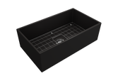 "BOCCHI Contempo 33"" Fireclay Farmhouse Apron Single Bowl Kitchen Sink, Matte Black, 1352-004-0120 with Grid Straight View 
