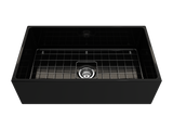 "BOCCHI Contempo 33"" Fireclay Farmhouse Apron Single Bowl Kitchen Sink, Black, 1352-005-0120 with Grid Angled View 