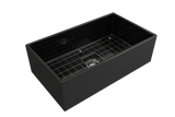 "BOCCHI Contempo 33"" Fireclay Farmhouse Apron Single Bowl Kitchen Sink, Black, 1352-005-0120 with Grid Straight View 