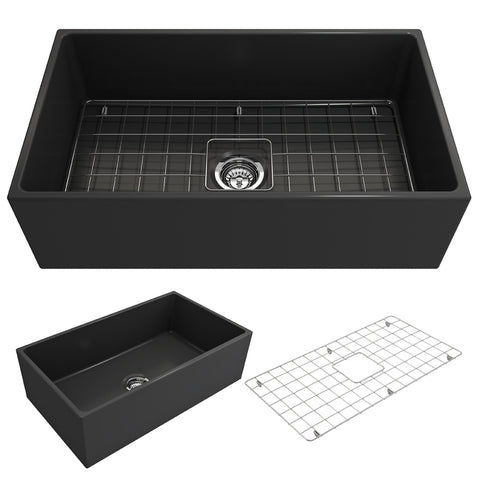 "BOCCHI Contempo 33"" Fireclay Farmhouse Apron Single Bowl Kitchen Sink, Matte Dark Gray, 1352-020-0120 Showcase Image 
