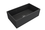 "BOCCHI Contempo 33"" Fireclay Farmhouse Apron Single Bowl Kitchen Sink, Matte Dark Gray, 1352-020-0120 