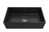 "BOCCHI Contempo 33"" Fireclay Farmhouse Apron Single Bowl Kitchen Sink, Matte Dark Gray, 1352-020-0120 with Grid Angled View 