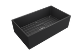 "BOCCHI Contempo 33"" Fireclay Farmhouse Apron Single Bowl Kitchen Sink, Matte Dark Gray, 1352-020-0120 with Grid Straight View 