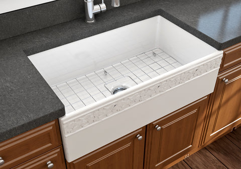 "BOCCHI Vigneto 33"" Fireclay Farmhouse Apron Single Bowl Kitchen Sink, White, 1353-001-0120 Lifestyle Image 