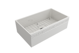 "BOCCHI Vigneto 33"" Fireclay Farmhouse Apron Single Bowl Kitchen Sink, White, 1353-001-0120 with Grid Angled View 