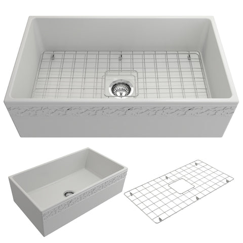 "BOCCHI Vigneto 33"" Fireclay Farmhouse Apron Single Bowl Kitchen Sink, Matte White, 1353-002-0120 Showcase Image 