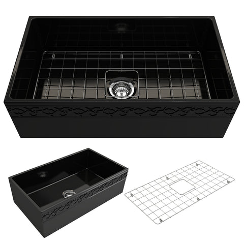 "BOCCHI Vigneto 33"" Fireclay Farmhouse Apron Single Bowl Kitchen Sink, Black, 1353-005-0120 Showcase Image 