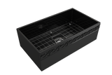 "BOCCHI Vigneto 33"" Fireclay Farmhouse Apron Single Bowl Kitchen Sink, Black, 1353-005-0120 with Grid Angled View 