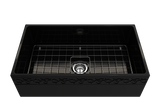 "BOCCHI Vigneto 33"" Fireclay Farmhouse Apron Single Bowl Kitchen Sink, Black, 1353-005-0120 with Grid Straight View 