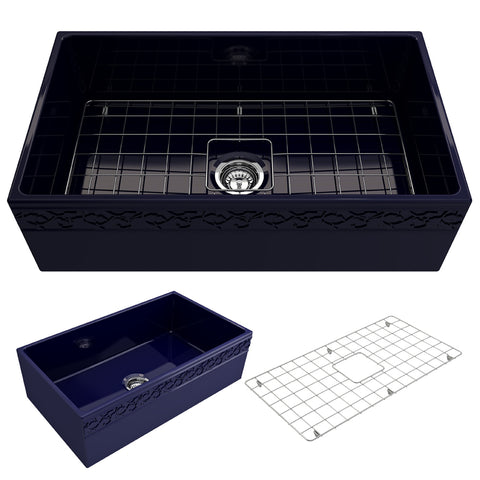 "BOCCHI Vigneto 33"" Fireclay Farmhouse Apron Single Bowl Kitchen Sink, Sapphire Blue, 1353-010-0120 Showcase Image 