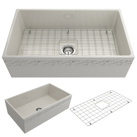 "BOCCHI Vigneto 33"" Fireclay Farmhouse Apron Single Bowl Kitchen Sink, Biscuit, 1353-014-0120 Showcase Image 