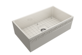 "BOCCHI Vigneto 33"" Fireclay Farmhouse Apron Single Bowl Kitchen Sink, Biscuit, 1353-014-0120 with Grid Angled View 