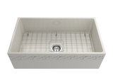 "BOCCHI Vigneto 33"" Fireclay Farmhouse Apron Single Bowl Kitchen Sink, Biscuit, 1353-014-0120 with Grid Straight View 
