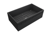 "BOCCHI Vigneto 33"" Fireclay Farmhouse Apron Single Bowl Kitchen Sink, Matte Dark Gray, 1353-020-0120 with Grid Angled View 