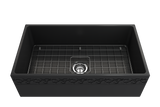 "BOCCHI Vigneto 33"" Fireclay Farmhouse Apron Single Bowl Kitchen Sink, Matte Dark Gray, 1353-020-0120 with Grid Straight View 