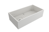 "BOCCHI Contempo 36"" Fireclay Farmhouse Apron Single Bowl Kitchen Sink, White, 1354-001-0120 with Grid Angled View 