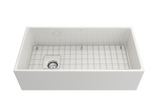 "BOCCHI Contempo 36"" Fireclay Farmhouse Apron Single Bowl Kitchen Sink, White, 1354-001-0120 with Grid Straight View 