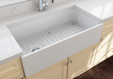 "BOCCHI Contempo 36"" Fireclay Farmhouse Apron Single Bowl Kitchen Sink, Matte White, 1354-002-0120 Lifestyle Image 