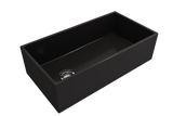 "BOCCHI Contempo 36"" Fireclay Farmhouse Apron Single Bowl Kitchen Sink, Matte Black, 1354-004-0120 