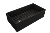"BOCCHI Contempo 36"" Fireclay Farmhouse Apron Single Bowl Kitchen Sink, Matte Black, 1354-004-0120 with Grid Straight View 