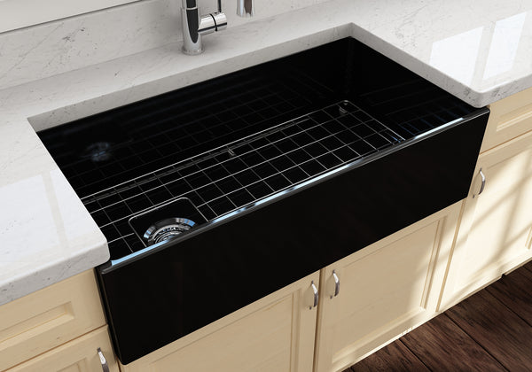 "BOCCHI Contempo 36"" Fireclay Farmhouse Apron Single Bowl Kitchen Sink, Black, 1354-005-0120 Lifestyle Image 