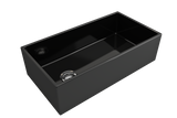 "BOCCHI Contempo 36"" Fireclay Farmhouse Apron Single Bowl Kitchen Sink, Black, 1354-005-0120 