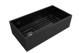 "BOCCHI Contempo 36"" Fireclay Farmhouse Apron Single Bowl Kitchen Sink, Black, 1354-005-0120 with Grid Angled View 