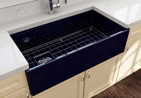 "BOCCHI Contempo 36"" Fireclay Farmhouse Apron Single Bowl Kitchen Sink, Sapphire Blue, 1354-010-0120 Lifestyle Image 