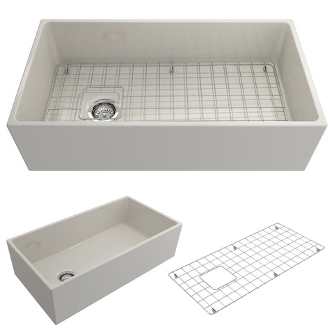 "BOCCHI Contempo 36"" Fireclay Farmhouse Apron Single Bowl Kitchen Sink, Biscuit, 1354-014-0120 Showcase Image 